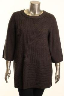 Karen Scott New Gray Patchwork Boat Neck Tunic Sweater Plus 2X BHFO