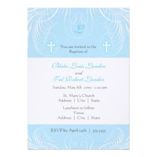 Monogram Twin Boys Baptism Invitation