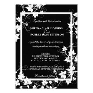 White Swirls Leaves Modern Fall Wedding Invitations