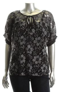 Karen Kane New First Frost Black White Lace Tie Neck Sheer Tunic Top