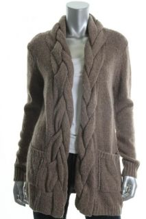 Karen Kane New Brown Cable Knit Front Pockets Open Front Sweatercoat L
