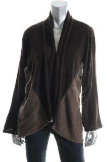 Karen Scott New Brown Colorblock Open Front Long Sleeve Cardigan