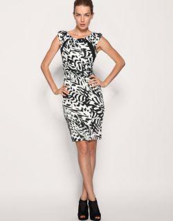Karen Millen Black & White Contrast Print Fitted Pencil Party Dress 10