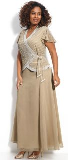 Kara Long Champagne Tan Beaded Side Tie Flutter Sleeve Formal Dress