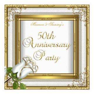 50th Anniversary Party Elegant Gold Art Deco Invite