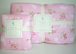 Pottery Barn Kids Karina Quilt Quilted Sham Sheet Set Twin Pink 5pc