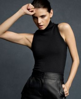 Karl Lagerfeld New Black Ribbed Trim Sleeveless Mock Sweater Tank Top