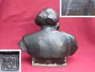 Big Cast Bust Karl Marx Russian Old Statue Signed 1960 Soviet Russian