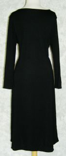 Ann Taylor Long Black Wool Knit Sweater Dress 16 Stretch 3 4 Sleeves