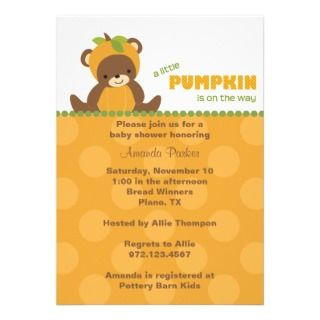 Little Pumpkin Baby Shower Invitations, Announcements, & Invites