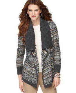 Karen Scott Cardigan Womens Charcoal Sweater Sz S