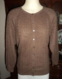 Katherine Kelly Gorgeous Cable Knit Cocoa Colored Cashmere Cardigan