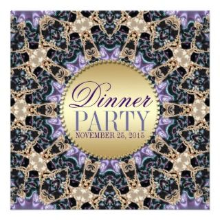 Exquisite Purple Gold Dinner Party Invitations