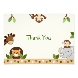 Monkey Jungle Animal Flat Thank You Note Cards Invites