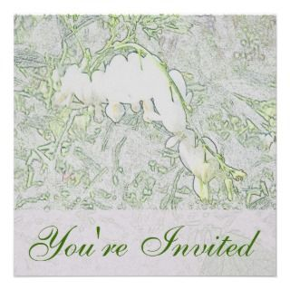 Bleeding Hearts Colored Pencil Square Invitation