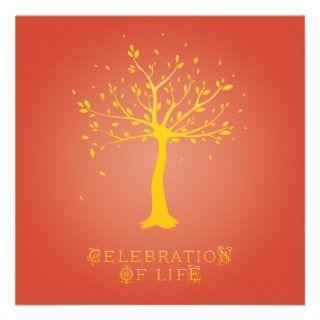 Celebration of Life   Custom   Elegant Tree Motif Custom Announcement