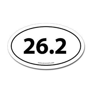 Sports Decals  26.2 Marathon Bumper Sticker  White (Oval