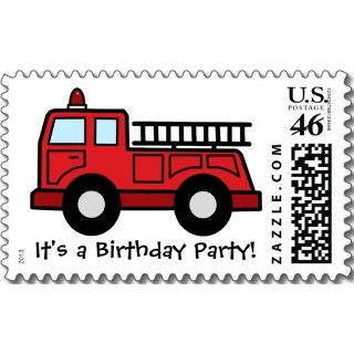 Boy Birthday Party Cartoon Clip Art Firetruck stamps by kidsclipart