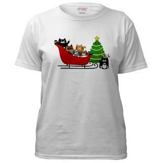 Kitty Cat, Sleigh Christmas Tree   Womens T