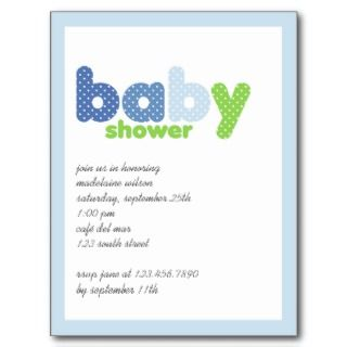 Blue & Green • Baby Shower Invitation Post Card