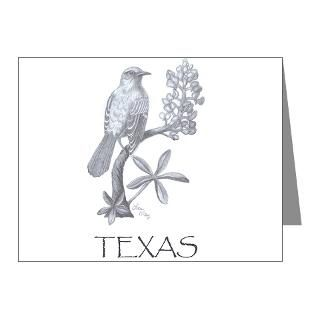 Bird Note Cards  Texas Mockingbird/Bluebonnet Note Cards (Pk of 10