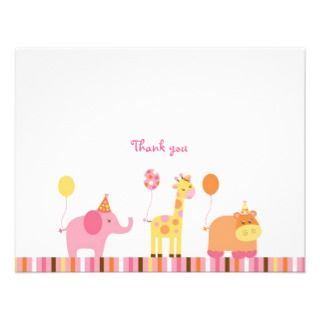 Sweet Safari Jungle Animal Thank You Note Cards Custom Invite