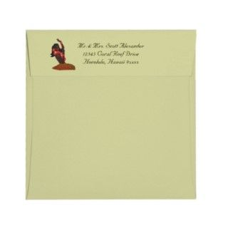 Hula Aloha Tropical Wedding Envelopes