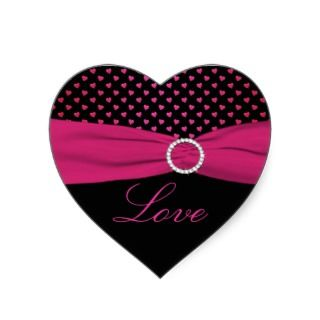 Pink, Black, Red Love   Heart Shaped Sticker