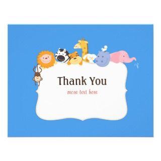 Noahs Ark Baby Shower Thank You Card Announcement