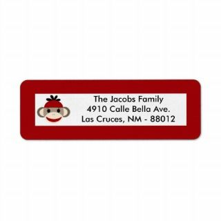 75x2.25 Return Address Label Red Sock Monkey