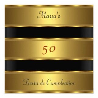 50th birthday Party Gold Black Cumpleaños Custom Announcements