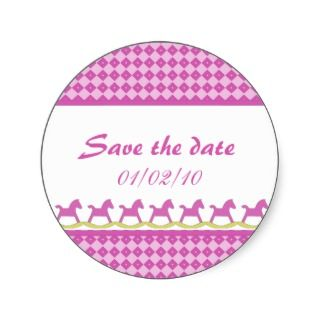 Pink Rocking Horse Save the Date Stickers stickers by SayItNow