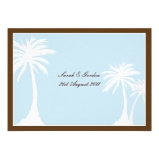 Blue Brown Palm Tree Wedding Invitation