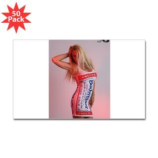 budweiser girl rectangle sticker 50 pk $ 85 99