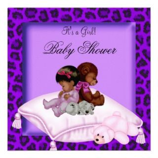 American Baby Shower Girl Purple Custom Invitations