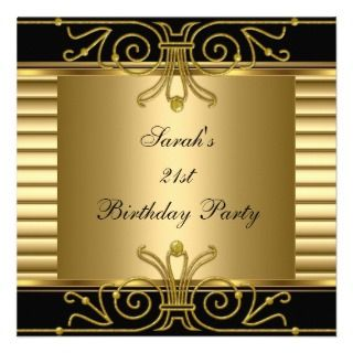 Elegant 21st Birthday Gold Black Art Deco Invites