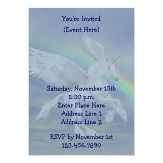 Flying Unicorn Rainbow Party Invite