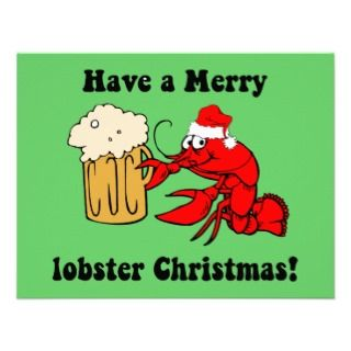 Merry lobster Christmas Custom Invitations