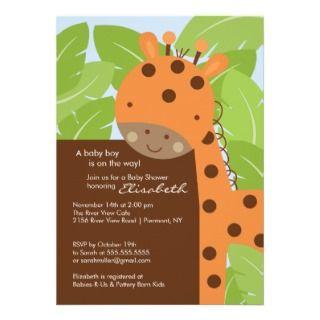 Orange Giraffe Baby Shower Invitation