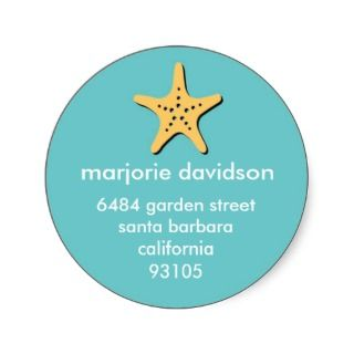 Beach starfish address labels yellow blue stickers by FidesDesign