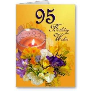 Freesias 95th Birthday Wishes Greeting Card