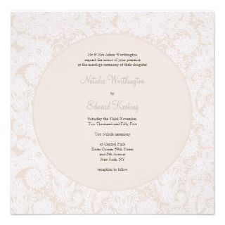 Champagne Ivory Lace Monogram Wedding Invite