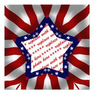 Red White & Blue Star Shaped Photo Frame Custom Announcements