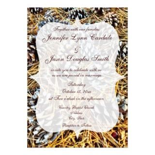Rustic Country Camo Pine Cones Wedding Invitations