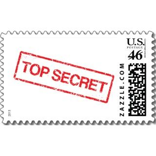 Surprise party top secret stamp postage, red