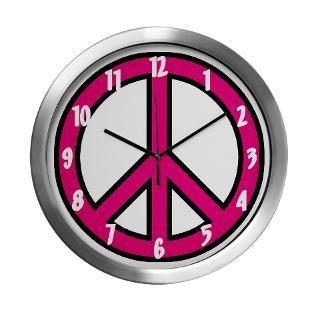 Pink Peace Sign Wall Clock by expressivemind