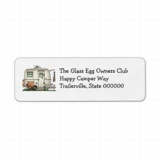 Cute RV Vintage Glass Egg Camper Travel Trailer Return Address Labels