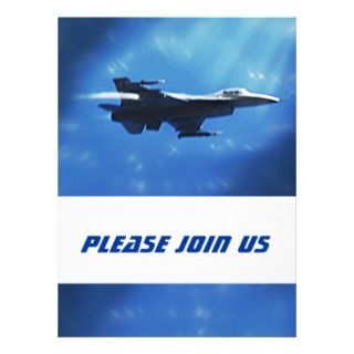 F16 Falcon Fighter Jet In Flight Custom Invitation