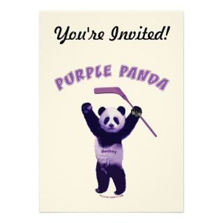 Purple Panda Hockey Bear Custom Announcement