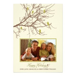 Birds Family Holiday Card (green) Custom Invitation